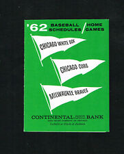 1962 Chicago White Sox Chicago Cubs Milwaukee Braves Baseball Pocket Schedule NM