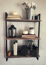 Rustic Metal and Wood Wall Shelf Unit,Industrial Shelving Wall (24in|3-layer)