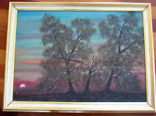 "ANTIQUE RUSSIAN SOVIET PAINTING OIL 1962 ""SUNSET"" LANDSCAPE ZARIPOV TATAR"