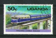 UGANDA 1976 50c RAIL TRANSPORT IN EAST AFRICA COMMEMORATIVE STAMP SG 173 VFU