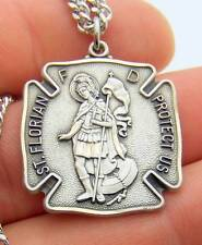 "MRT Sterling Silver Pendant St Florian Fireman Badge Medal 1 1/16"" Steel Chain"