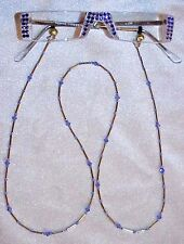 !! TANZANITE AUSTRIAN CRYSTAL READING GLASSES 4.00 AND MATCHING CHAIN !!!