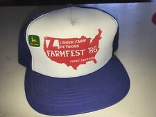 Vintage Farmfest '86 Trucker Mesh Snapback Hat Nos John Deere Pin