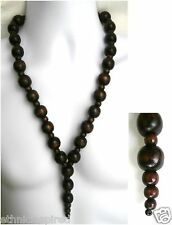 "ETHNIC INSPIRED MENS HANDMADE TRIBAL CHUNKY 28"" LONG BROWN WOOD PENDANT NECKLACE"