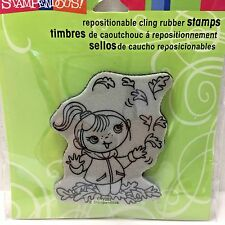 Stampendous Cling Rubber Stamp - Autumn Leaf Girl Kiddo - CRV283 - NEW