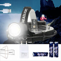 Powerful XHP70 LED Zoomable Headlamp USB Rechargeable Head Torch Headlight 18650