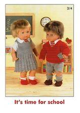 Dolls clothes school uniforms dk knitting pattern
