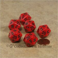 NEW Set of 6 Red with Black Numbers D20 Dice Twenty Sided RPG D&D Game D20s