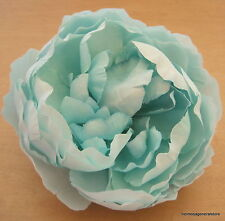 "Large 5"" Aquamarine Blue Peony Silk Flower Bar Brooch Pin,Wedding,Prom,Dance"