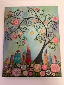 Sweet Karla Gerard 11X14 Folk Art Painting 8 Houses & a Swirl Tree 2009