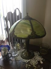 Antique bronze Slag Lamp Green Glass Tiffany style