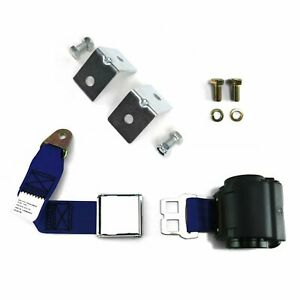 2pt Dark Blue Retractable Airplane Buckle Lap Seat Belt w/ Anchor Hardware