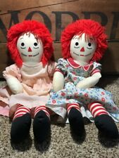 Lot 2 Vintage Handmade Raggedy Ann Rag Doll Hand Stitched Face Heart Dress