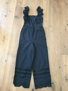 Authentic Madewell eyelet frilled-strap jumpsuit Size 00, True Black $150 NWT
