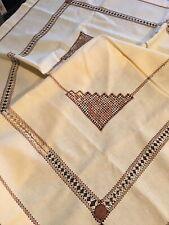 "Vintage Hand Embroidered Ukrainian folk tTable cover handmade 33""x 35"""