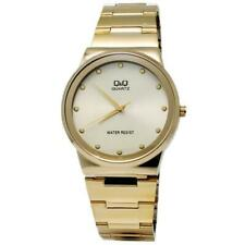 Q&Q Men's Analog Watch with Stainless Steel Bracelet and Gold Tone Dial Q398-010