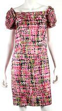 YVES SAINT LAURENT Resort 2008 Pink Geo Print Silk Smocked Cap-Sleeve Dress 40