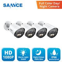 SANNCE 1/2/4pcs HD 1080P Full Color Night Vision Security Camera Warm Light LED