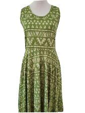 Lularoe Nicki Dress Pockets Green Watercolor Aztec Southwest Stripe Medium