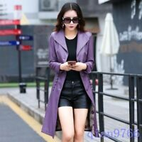 Womens Stylish Long Slim Fit Lapel Motorcycle Joker Leather Trench Coat Solid WU