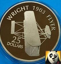 2005 Isole Salomone $25 dollari WRIGHT 1903 Flyer.999 argento e oro PROOF COIN