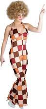 Ladies Disco Fever Jumpsuit 1970s Diva Fancy Dress Costume Womens 70s - Small