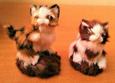Anciennes figurines 2 chats chatons poils naturels multicolores années 50 en TBE
