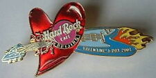 Hard Rock Cafe BEIJING 2001 Valentine's Day PIN Flaming V Guitar Thru HEART 1110