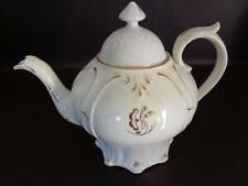 Vintage White Teapot With Gold Accents (Damaged) (Cat.#12A007)