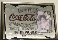 VINTAGE Retro COCA COLA LARGE MIRROR  PICTURE IN Gold Metal FRAME
