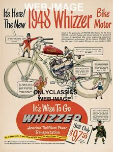 1948 WHIZZER MOTORCYCLE BIKE ADVERTISING 12X18 POSTER BICYCLE MOTOR ENGINE ART