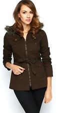 Womens Ladies Brown Faux Fur Hooded Winter Zip Parka Coat Jacket Size Large New