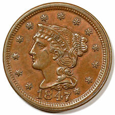 1847 N-5 R-3+ CC level MDS Braided Hair Large Cent Coin 1c