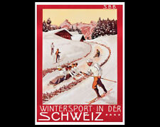 Vintage SKIING IN SWITZERLAND c.1904 SBB POSTER Reprint