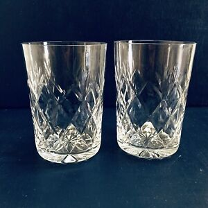 Lovely Pair of Vintage Clear Cut Lead Crystal Glass Whiskey Tumblers Glasses
