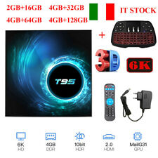 T95 Android 10.0 Smart TV Box 4Core 4K 6K HDR 4GB+128GB WiFi BT5.0 Tastiera M3R1