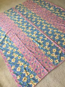 """Vintage 50s 40s Cotton Floral Fabric Duvet Cover 68"""" x 71"""" Pink Yellow Blue Exc"""