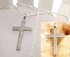echt Silber 925 Sterlingsilber Kreuz Anhänger Figarokette Hals kette 50cm Zirkon