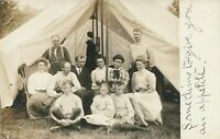People In Front of Big Tent Real Photo Postcard rppc