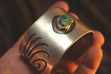 """EXPERT MADE NAVAJO - STERLING SILVER & TURQUOISE- CUFF BRACELET - BEAUTIFUL """"L"""""""