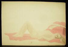 Nu de femme allongée dessin original aquarelle vers 1900 naked nude woman draw
