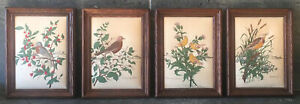 Vtg Handmade Framed Quilted Fabric Birds Artwork 4Pc Set Wall Hangings Decor