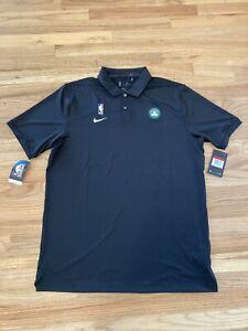 Men's NBA Boston Celtics Nike Polo Golf Shirt Black Size Large-T