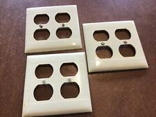 3 Vintage Cream Sierra Ribbed Double Outlet Covers. Art Deco Nos