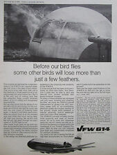 11/1970 PUB AVION VFW  614 AIRCRAFT BIRD STRIKE TEST OISEAU ORIGINAL AD