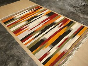 Kilim flat weave Scandinavian style rug carpet 6x9 hand made new modern wool