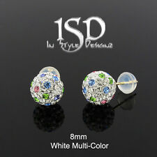 14k Yellow Gold 8mm Austrian Crystal Ball White Multi-Color Studs Earrings