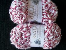 Gala Mixed Fiber textured yarn, pink twist with white, lot of 2