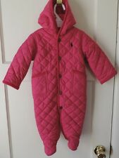NWT Ralph Lauren Baby Girl Hooded Quilted Barn Bunting Pink Snow Ski Suit 6 M