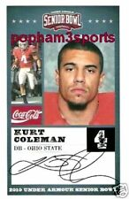 KURT COLEMAN - 2010 SENIOR BOWL CARD OHIO STATE ST OSU